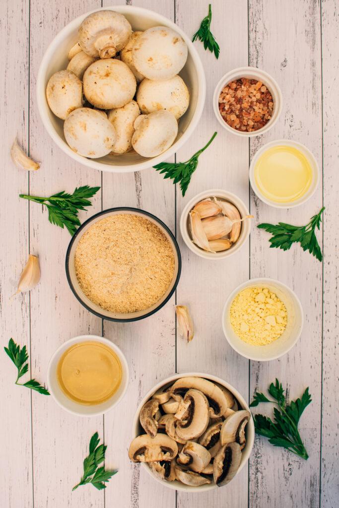 Ingredients for vegan breaded mushrooms