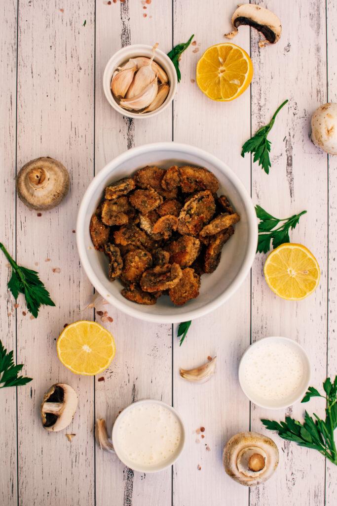 breaded baked mushrooms with garlic aioli