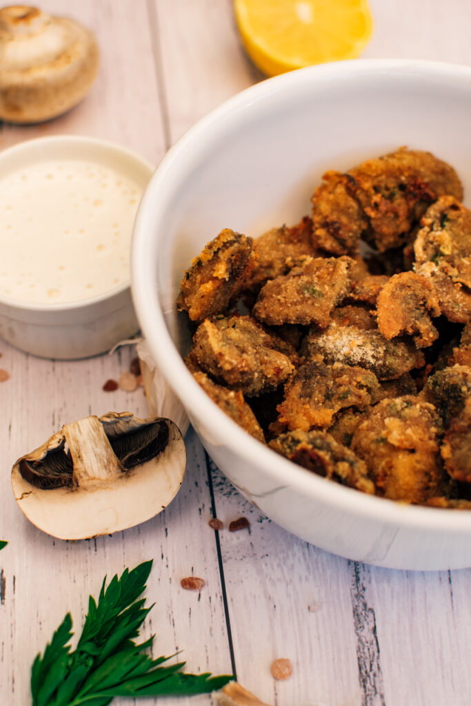 Baked breaded mushrooms vegan