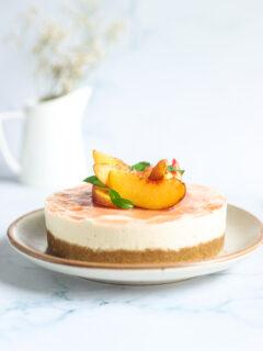 Gluten Free and Vegan No bake Cheesecake with peaches